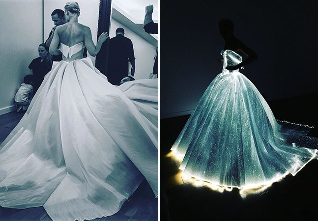 Atriz faz sucesso no baile de gala do MET com vestido high tech que brilha no escuro