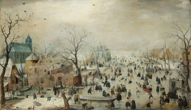 Hendrick Avercamp - Paisagem de Inverno com Patinadores