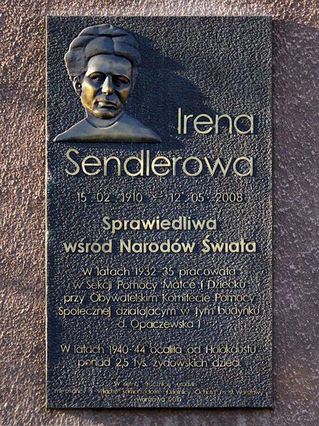 Placa em tributo à Irena, na Polônia
