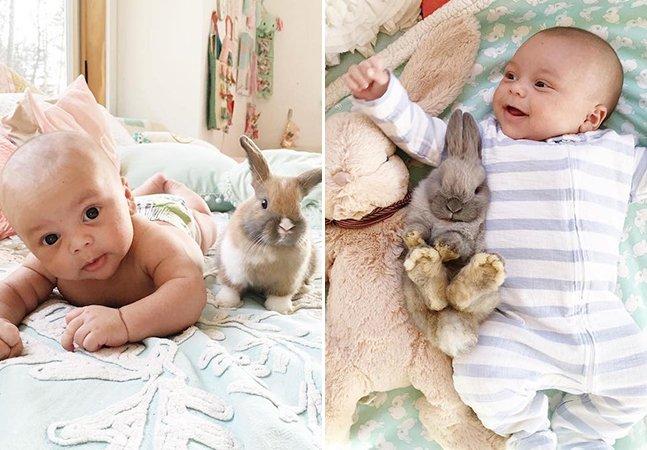 Mãe retrata o laço que une o filho recém-nascido e seus coelhos de estimação