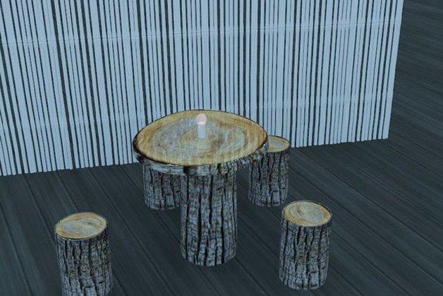 Detalhe da mobília de madeira