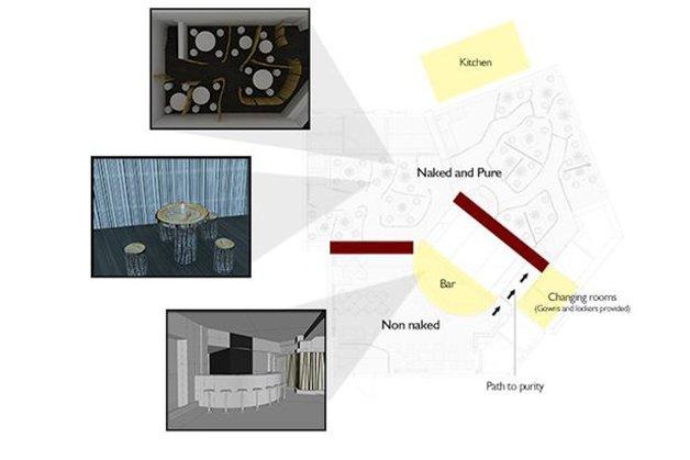 """Mapa do restaurante, com áreas para nudistas e para os """"vestidos"""""""