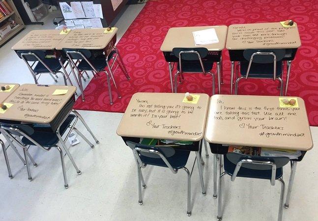Professora deixa recadinhos inspiradores para diminuir ansiedade dos alunos antes das provas