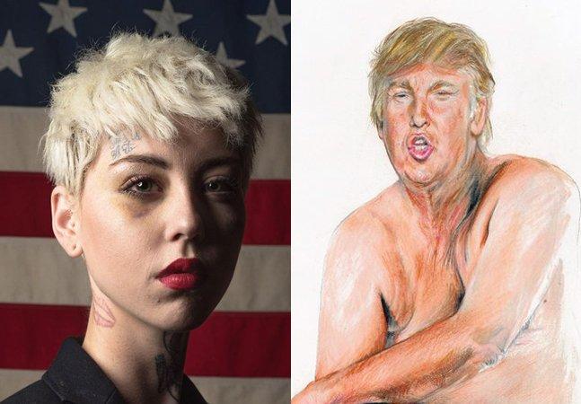 Esta artista foi agredida por retratar  Donald Trump com um mini pinto