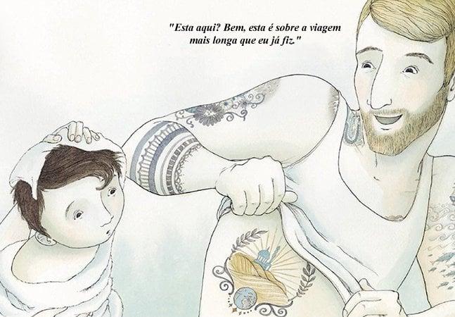 Livro infantil ilustrado coloca pai contando suas memórias para o filho através de suas tatuagens