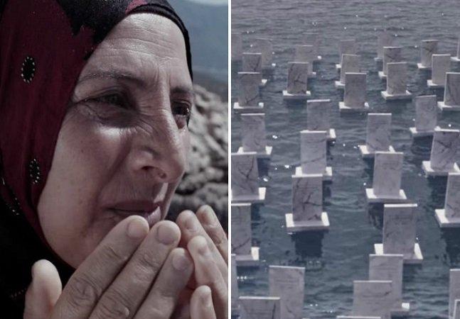 Cemitério no mar faz homenagem tocante a refugiados que não chegaram à terra firme