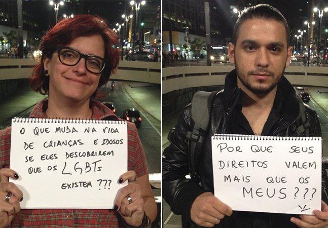 Pessoas LGBT seguram cartazes em SP com as perguntas que gostariam de fazer para os homofóbicos