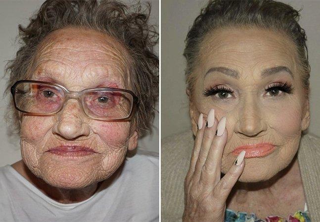 Esta senhora de 80 anos quebrou a  internet depois de ganhar uma  maquiagem feita por sua neta