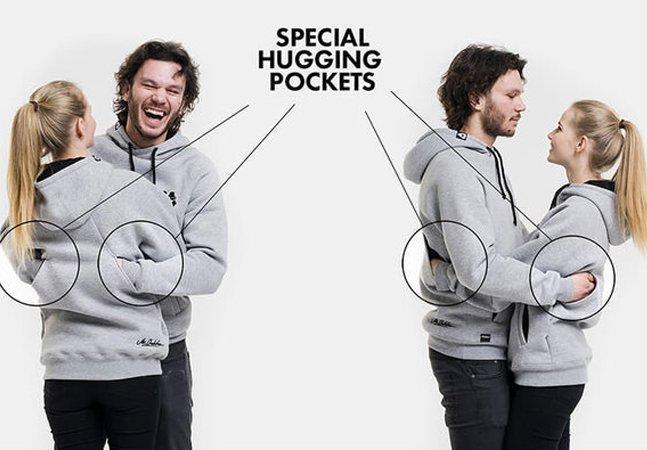Este moletons têm bolsos especialmente criados para o abraço