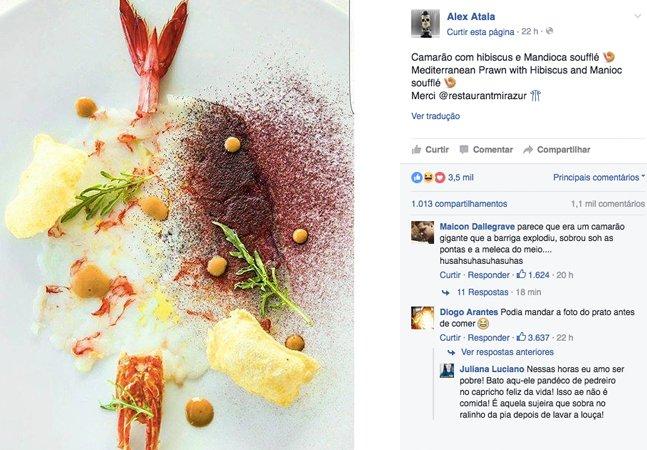 Os comentários nesta foto postada  pelo chef Alex Atala são perfeitos  para quem tem fome de zoeira