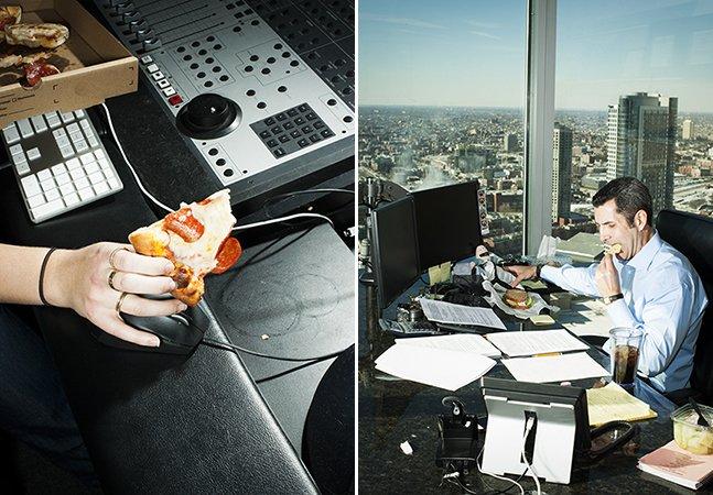 Fotógrafo capta a realidade de quem não tem tempo e almoça na frente do computador