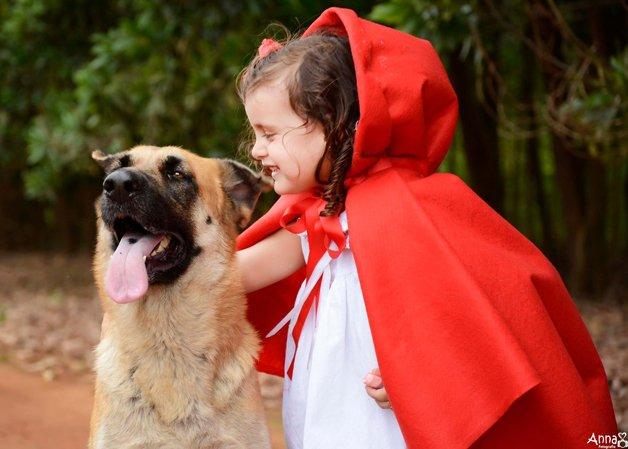 Oh, Lobo, que braços longos você tem! — São para abraçá-la melhor, minha querida menina! — Oh, Lobo, que olhos grandes você tem! — São para enxergar também no escuro, minha menina! — Oh, Lobo, que orelhas compridas você tem! — São para ouvir tudo, queridinha! — Oh, Lobo, que boca enorme você tem! — São para te beijar melhor!