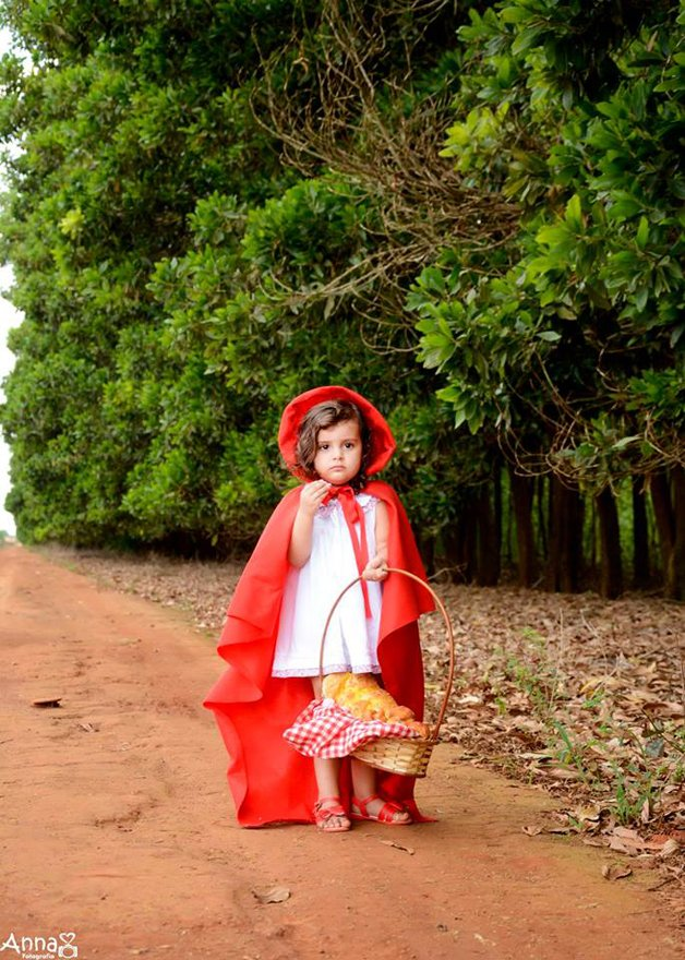 """Um dia, a mãe da menina preparou alguns doces e disse: """" Chapeuzinho Vermelho, vá levar estes doces para a vovó, Tome cuidado pois o Lobo está rondando a floresta..""""."""