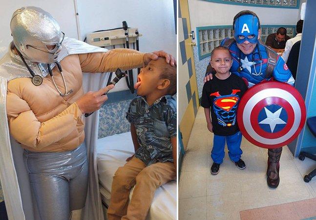 O médico que atende crianças com câncer fantasiado de personagens e super-heróis