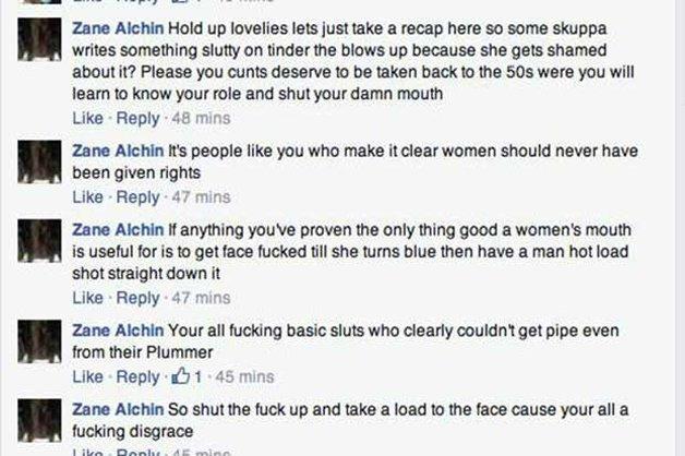 """Alguns trechos das ameaças e ofensas: """"Suas putas merecem voltar para os anos 1950 quando aprenderão os seus papéis e calarão a boca""""; """"São pessoas como você que deixam claro porquê as mulheres não devem ter direitos""""; """"Você prova que a boca de uma mulher só serve para ser fodida até que a mulher fique azul e depois receber a porra de um homem na cara"""""""
