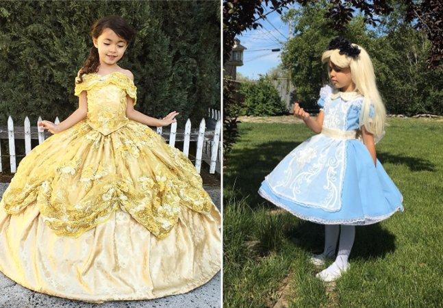 Pai costura fantasias de  princesas da Disney para suas filhas