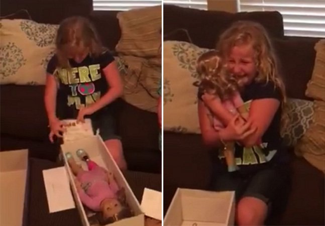 Vídeo emocionante mostra o momento em que menina recebe boneca com prótese igual a dela