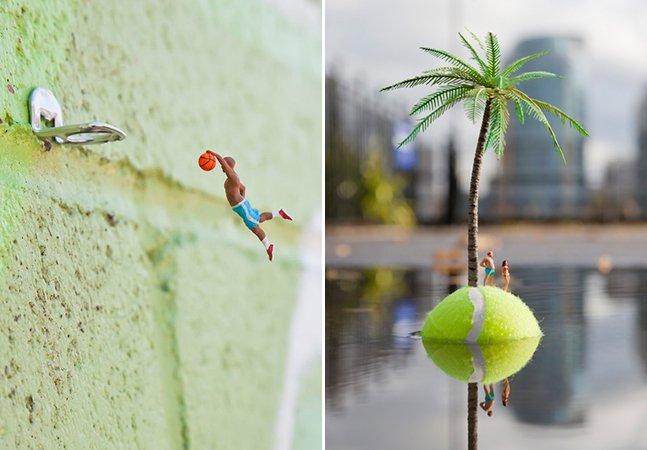Artista usa miniaturas para espalhar seus mundos mágicos pelas ruas
