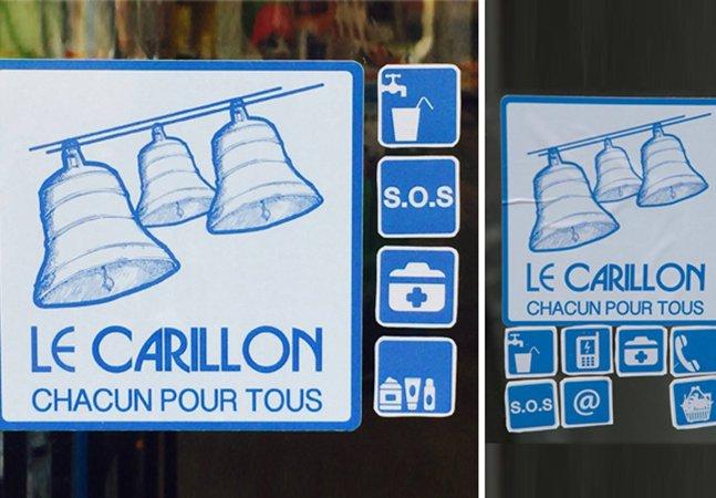 Estabelecimentos em Paris espalham adesivos para mostrar que moradores de rua são bem vindos