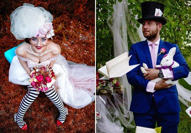 Este casal teve uma incrível festa de casamento inspirada em 'Alice no País das Maravilhas'