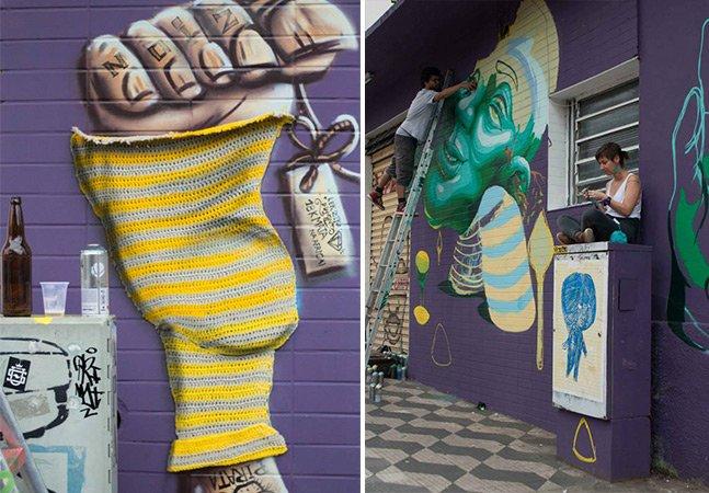 Artistas paulistanos unem crochê ao graffiti e o resultado é incrível