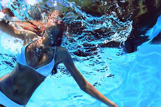 Hyperrealist oil painting of woman floating underwater by Matt Story