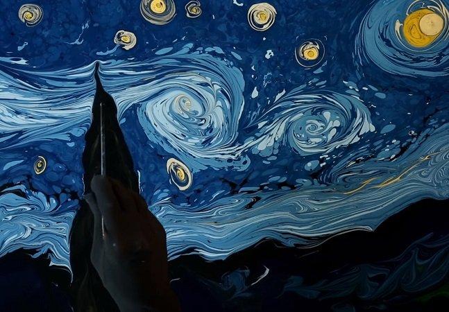 Ele usou água para fazer uma recriação impressionante de obra clássica de Van Gogh
