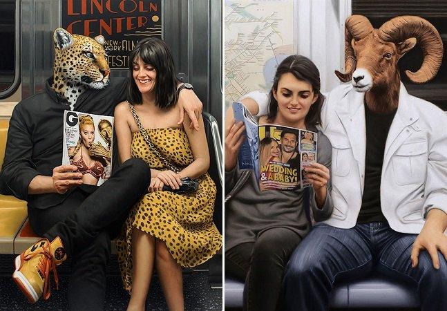 Artista usa pintura pra retratar o 'animal interior' que existe dentro das pessoas no metrô de NY