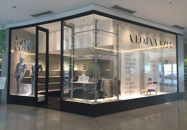 O shopping que levou a campanha  do agasalho a sério e montou uma  loja vazia para receber doações