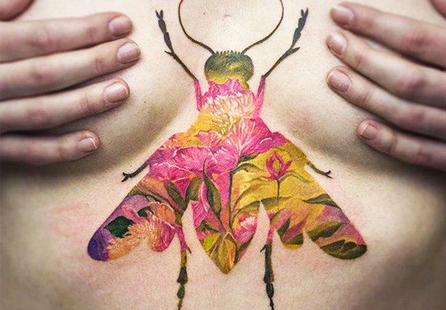 Inspiradas na 'dupla exposição',  tattoos unem contornos e 'estampas'  criando um resultado original