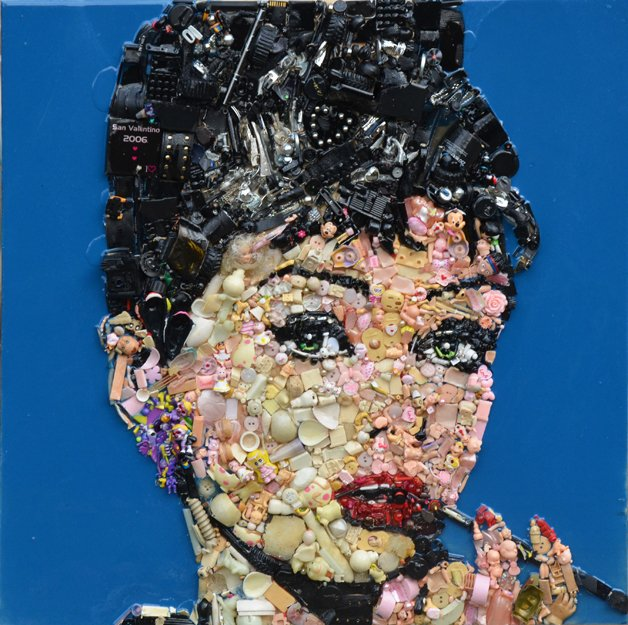 Audrey-Hepburn--70-x-70-cm---plastic-objects-and-resin-on-wood---2014