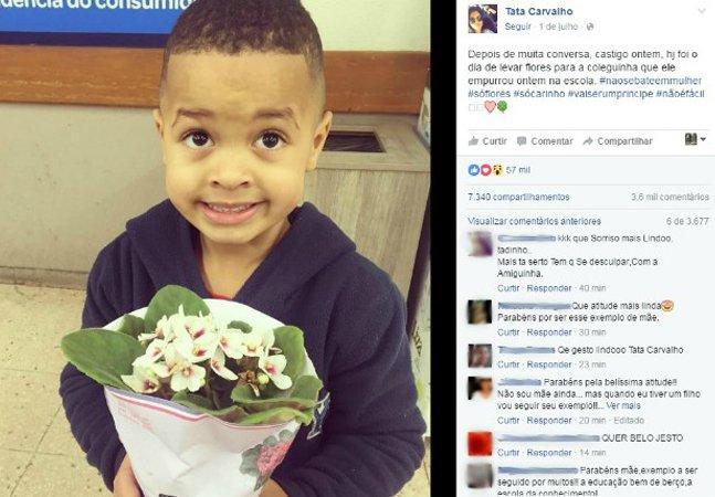 Mãe de menina empurrada em escola aceita pedido de desculpas com flores e diz que o menino será um cavalheiro