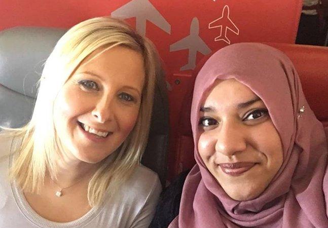 Como esta muçulmana se tornou  amiga de uma passageira que  estava com medo dela num voo
