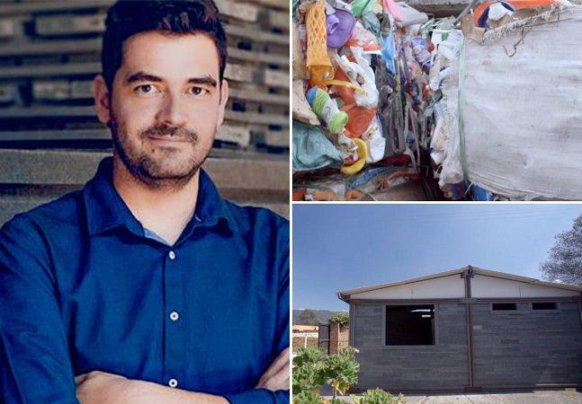Este homem usa plástico descartado para construir casas para moradores de rua