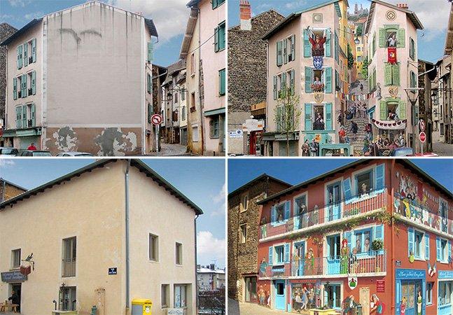 Artista usa ilusão de ótica para dar cores e vida a fachadas de prédios entendiantes