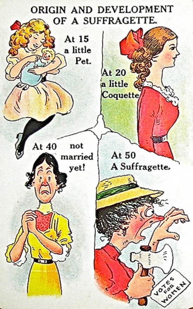 Origem e desenvolvimento de uma sufragista. Aos 15 uma princesinha, aos 20 uma coquete, aos 40 ainda não se casou, aos 50 uma sufragista.