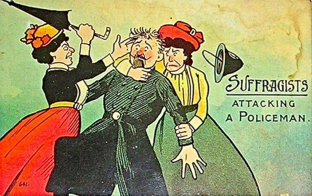 As sufragistas atacando um policial.
