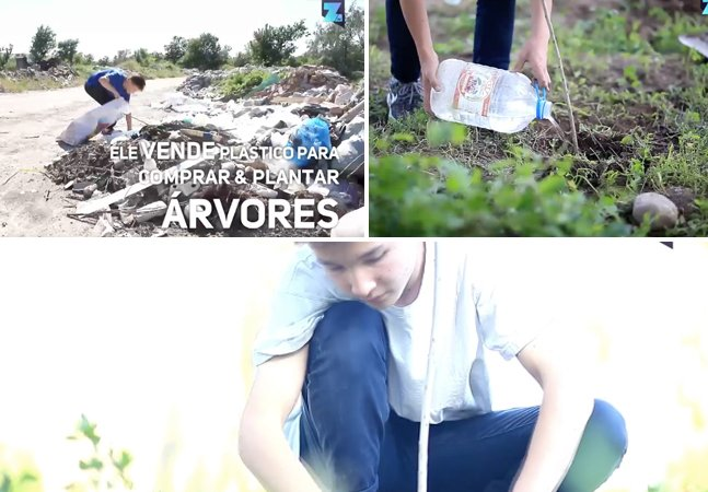 Menino de 14 anos recolhe plástico sozinho e vende pra poder comprar e plantar árvores