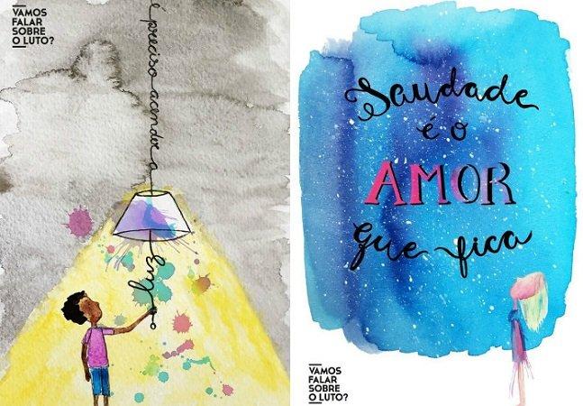 Projeto inspirador se une a ilustradora para criar cartões que ajudam a lidar com o luto
