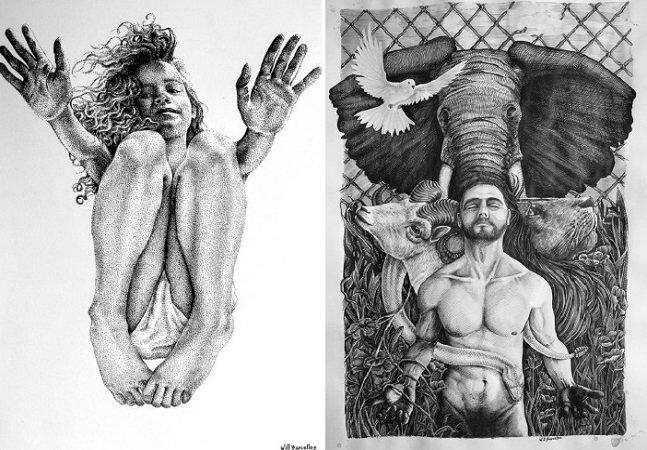 Artista brasileiro cria maravilhosas obras com pontilhismo e aquarela