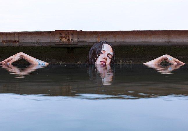 Artista cria lindas ilustrações que interagem com água