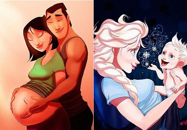 Princesas Disney se tornam mães em ilustrações de artista americano