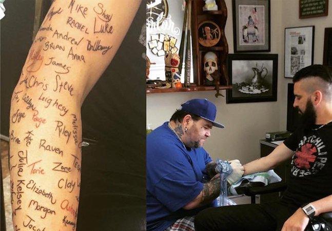 Este músico decidiu tatuar todos  os nomes de fãs que  ajudou a salvar do suicídio