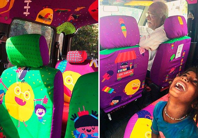 Designer redecora táxi de homem de 75 anos que transporta pessoas em emergência de graça
