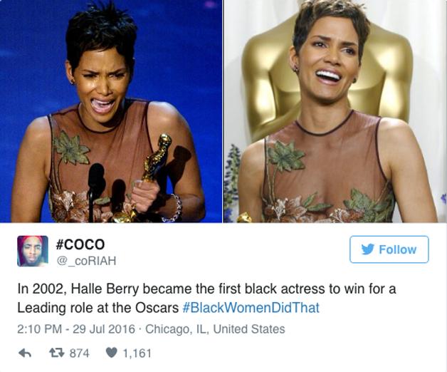Hale Berry, que em 2002 se tornou a primeira mulher negra a ganhar o Oscar de melhor atriz.