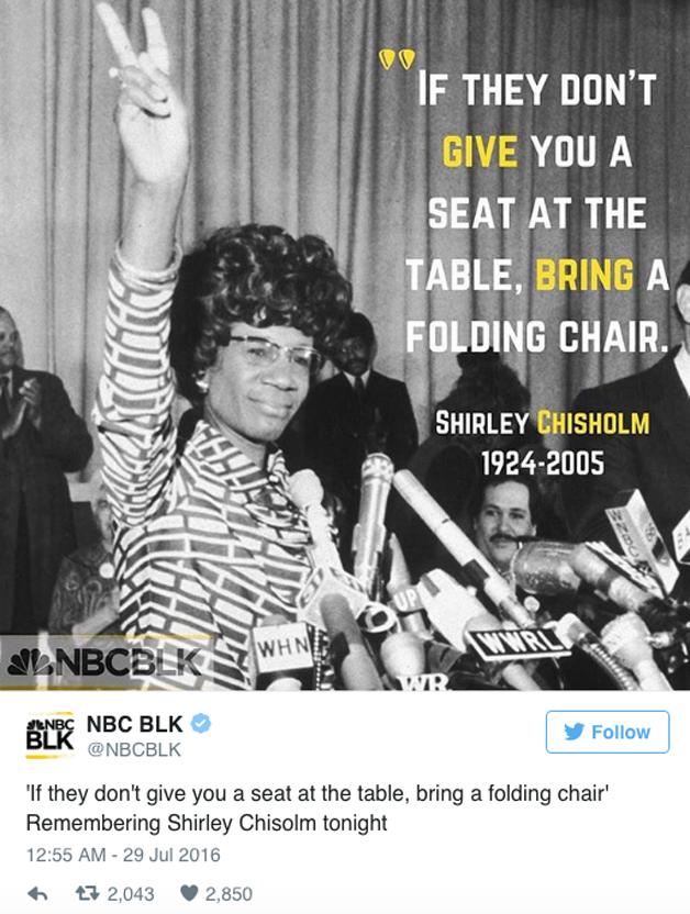 """Shirley Chisom, a primeira deputada negra dos EUA (""""Se eles não dão um lugar à mesa, traga uma cadeira dobrável"""")"""