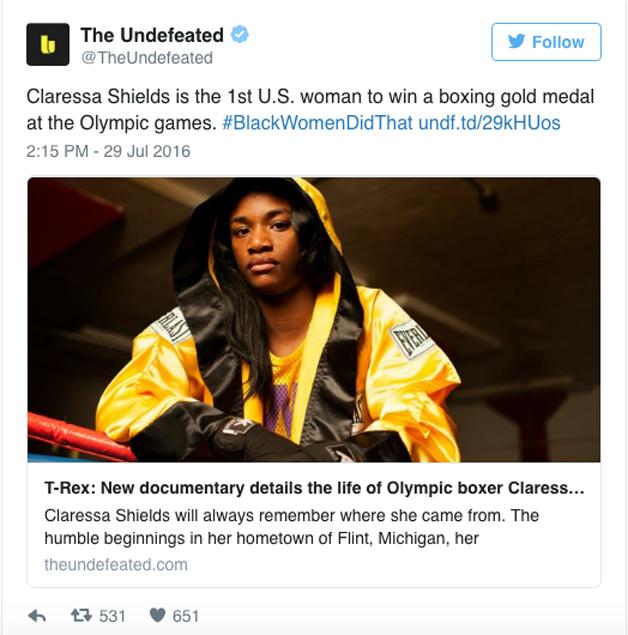 Claressa Shields, primeira mulher a ganhar uma medalha de ouro no boxe em jogos olímpicos.
