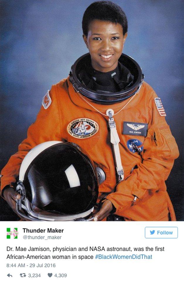 Dra. Mae Jamison, médica, astronauta da NASA e a primeira mulher negra a ir ao espaço.