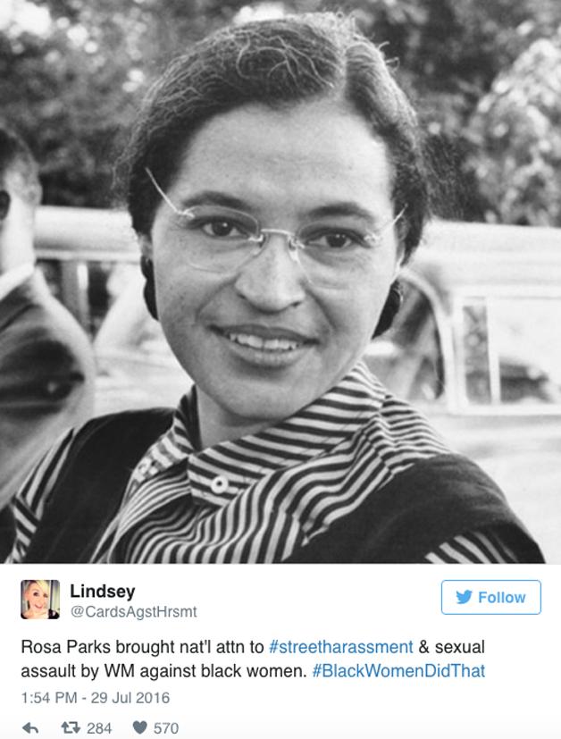Rosa Parks, ativista, trouxe atenção nacional à questão dos direitos civis para os negros, ao assédio de homens brancos e ao assédio sexual.