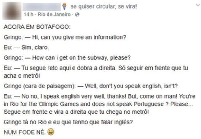 Post da brasileira que não ajudou gringo no Rio vira o mais novo meme olímpico